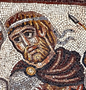 Royal figure in Huqoq mosaic